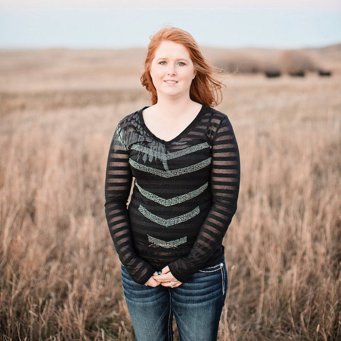 Kacie Jalbert in the prairies.